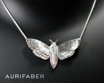 Death's head hawkmoth silver pendant. Hand engraved hawkmoth necklace. Silver necklace. Acherontia atropos
