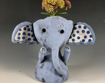Pokey the Elephant // Blue // Planter // Succulent Pot // Small Sculpture // Ceramic // Home // Office // Gift // Cute // Pachyderm
