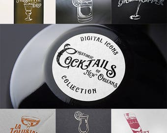 Cocktails of New Orleans Digital Icon Collection with PSD & Ai files