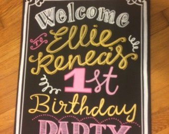 Welcome first birthday sign on canvas