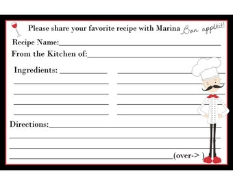 200 Personalized Recipe Cards  - Bridal Shower  - Chef Design
