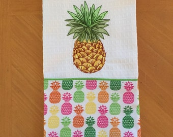 Pineapple Kitchen Towel, Embroidered