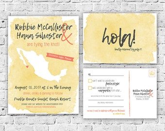 Destination Mexico Wedding Invitation and RSVP Postcard Digital File, Printing Service Offered, Watercolor, Printable, Custom