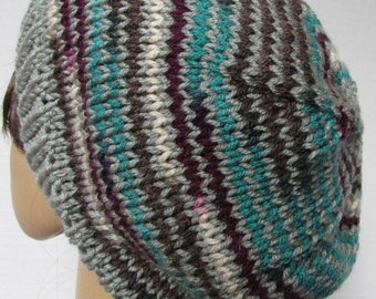 Silver and Antique colored stripped slouchy Knit Beanie