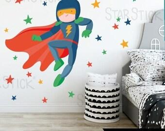 Sticker boy - Lightning the superhero RED.  Kids' & Baby Wall Stickers