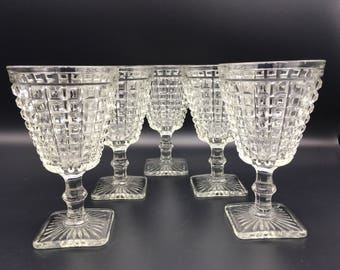 Vintage Monticello Water Goblet Wine Glass Imperial Glass Waffle Block Set of 5