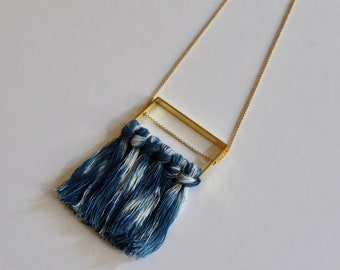 SAMPLE SALE* Indigo Dyed Fiber and Brass Necklace