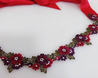 Rhinestone red purple floral sash, Lace sash, Jeweled sash, Beaded sash, Wedding sash, Bridal dress sash, Wedding gown sash, Crystal belt