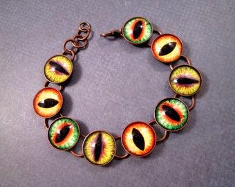 EYE See You, Eyeball Bracelet, Colorful and Copper Cabochon Bracelet, Chain Link Bracelet, FREE Shipping U.S.