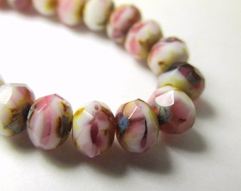 10 Mauve White and Gold Czech Glass 7mm x 5mm Rondelles, Faceted Glass Dusty Pink, White and Yellow Jewelry Beads
