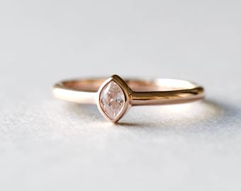 14k Rose Gold Ring, Oval Ring, Dainty Ring, Marquise Ring, Rose and Choc, Roseandchoc Ring, Solitaire Ring, 925 Sterling Silver Ring