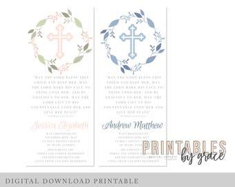 DOWNLOAD Baptism Christening DIGITAL PRINTABLE pdf party favor thank you English and Spanish Español