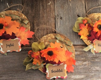 AG Designs Fall Decor Ornaments - Straw Hats Grateful Thankful Blessed #8202