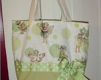 Pink or Green Fairy Polka Dot Glitter Fantasy BAG Purse Tote BAG or Diaperbag