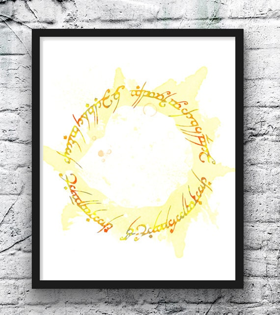 The Lord of the Rings Watercolor Print One Ring Elvish