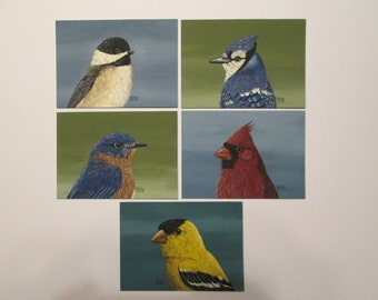 Set of 5 ACEO's from Songbird Series by Ann Kelly