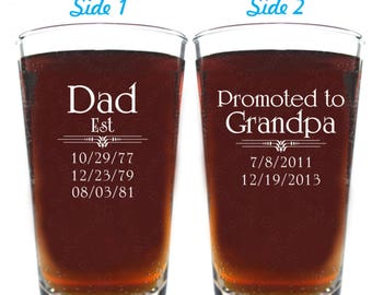 Grandpa Beer Glass - Gift for Grandpa - Daddy-Grandpa Beer Glass with Kids Birthdates - Up to 8 Birthdates per side