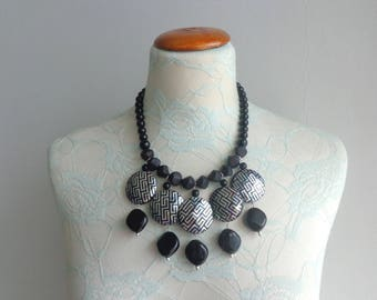 Chunky necklace, black silver necklace, black statement necklace