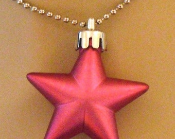 Hot Pink Pearlescent Shining Star Necklace  (Funky Felt Flowers)