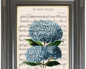 Blue hydrangea hortensia wall art dictionary or music page print Dictionary art print Sheet music Digital print No. 564