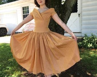 1950s Autumn Glow Formal Dress