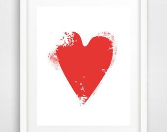 Red heart, art print, baby room decor, love art, poster, heart art, wall decor, modern wall art, heart print, scandinavian art