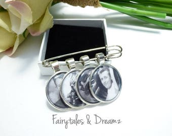 Boutonniere Photo Charm personalised with your photo - Grooms Buttonhole, NOT DIY, Memorial Charm for Groom - Lapel Photo Charm
