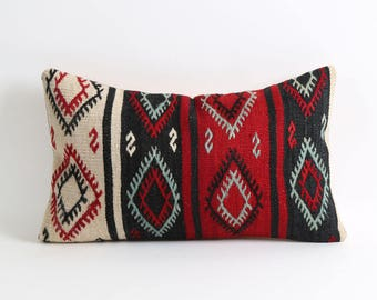 Kilim pillow, Striped tribal kilim pillow cover 12x20 handmade decorative kilim pillow cover