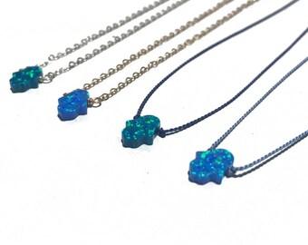 blue opal hamsa hand necklace