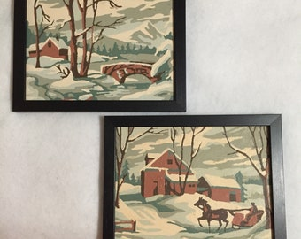 Vintage Winter Scene Paint by Number Paintings - early 1960's - Framed - set of 2
