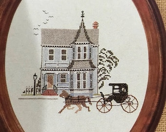 APRILSALE Vintage Counted Cross Stitch Main Street Houses of Yesteryear pattern book