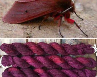 Ruby Tiger Moth 20g, merino nylon blend indie dyed sock yarn