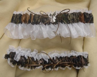 Mossy Oak Garter Break up WHITE camouflage sheer camo bridal garter set Black, Pink, Brown, ivory,  blue any color sheer Wedding