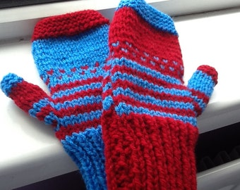 Mix and Match Gloves, Red and Blue Gloves, Stripy Gloves, Spotty Gloves, Dotty Gloves, Spots and Stripes, Knitted Gloves, Fingerless Gloves