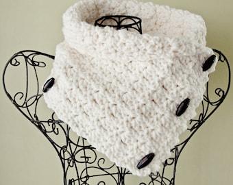 SCARF CROCHET PATTERN Chunky Cowl Button Scarf Easy Crochet Pattern The Bristol