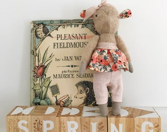 Poppy The Goat / Spring Flowers Collection / Stuffed Animal / Nursery Decor / Handmade / Goat / Heirloom Doll //Rifle Paper Co. Rosa Peach