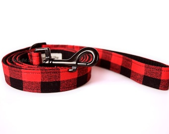 Buffalo Plaid Dog Leash, Red and Black Leash, Fabric & Webbing Leash, Dog Lead, 4 foot 5 ft or 1.5 ft Traffic Lead, Designer Dog Accessories