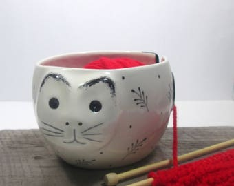 Cat Yarn bowl Pottery Ceramic Knitting and crochet bowl Knitter Gift Ready to ship