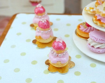 Pink 'Princess' Religieuse - French Pastry - 12th Scale Miniature Food