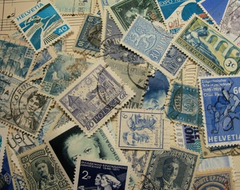 40  Blue Postage Stamps, Used Postage Stamps, Vintage Postage Stamps, Blue, World Wide