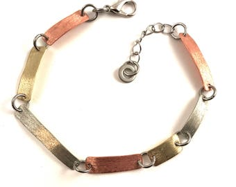 Link Chain Bracelet Mixed Metal Bar Bracelet