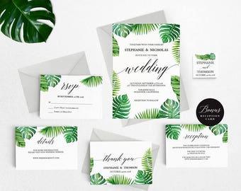 Tropical Wedding Invitation Template, Tropical Wedding Invitation Printable, Hawaii Invitation, Cheap Invitation,PDF Instant Download #E027