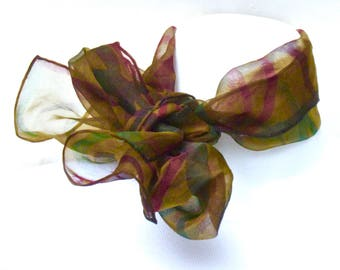 Hand painted organza scarf.  Multicolored pattern painted on a dull olive green small organza neck scarf.  Painted silk scarf, organza.