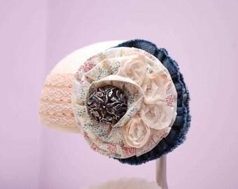 Denim and Lace headband