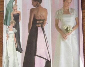 2004 simplicity pattern 4876 misses evening dress and shrug jacket  sz 14-16-18-20-22  uncut