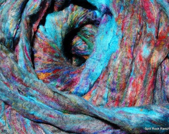 Lotus Sari Silk Roving Sliver ~ 4 Ounces  to Blend, Spin, Felt, Create Fiber Art