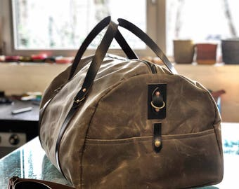 Waxed canvas carry on luggage / weekender / duffle bag / gym bag