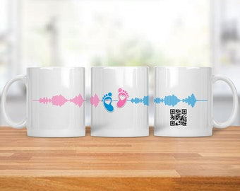 Baby Reveal Mug - Gender Reveal Gift - Birth Announcement Mug - Custom Coffee Cup - Pregnancy Reveal - Soundwave Mug - Baby Reveal
