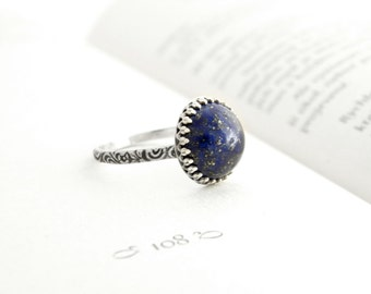 Sterling silver ring with lapis lazuli, silver ring blue stone, lapis lazuli silver ring