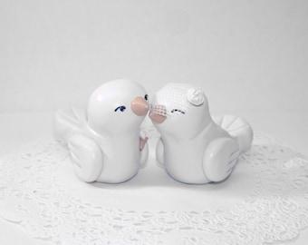 Custom Lovebirds Wedding Cake Topper Wedding/Home Decor - Fully Customizable - Shown in White Ivory